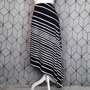 CHICO'S Striped Asymmetrical Handkerchief Skirt 0